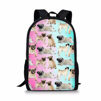 Women Girls Pink Backpack Corgi Pug Print Schoolbag Shoulder Satchel Daypacks