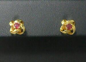 Ohrringe earrings 585 GOLD 14 Karat Ohrstecker Rubine ruby Rubin ear rings 14K