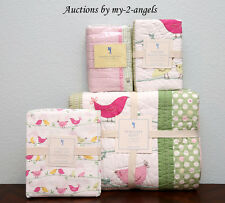 NEW Pottery Barn Kids PENELOPE Bird Twin Quilt+2 Shams+Sheet Set PINK/GIRLS