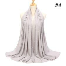 Women's Ladies Chiffon Scarf Studs Pearls Plain Hijab Muslim Shawls Wrap Scarves