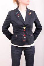 Moschino Dark Blue Blazer Catwalk Jacket Multi colour buttons Rare Uk 10 S SUPER