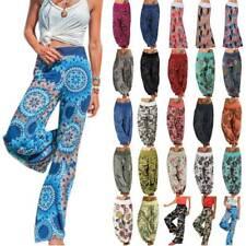 Womens Boho Wide Leg Harem Pants Hippie Yoga Gypsy Palazzo Comfy Baggy Trousers