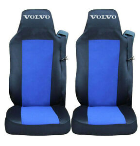 Set of 2 Seat Covers Black - BLUE for VOLVO EURO 6 Truck Tailored HGV Lorry RHD