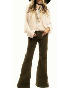 FREE PEOPLE 25 26 28 Olive Military Green Corduroy Bell Bottom Flare Jeans Pants