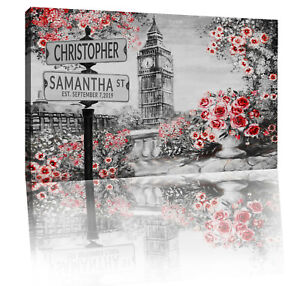Red Personalized Names & Established Date Street Sign Canvas Wall Art Print