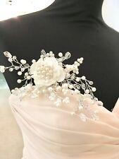 Wedding Bridal Flower Spray Hair Comb White Satin Organza Faux Pearl Rhinestone