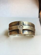 JAMES AVERY Cross Band with Diamond Ring Sterling Silver Sz 7.5 RETIRED