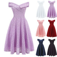 Womens Off Shoulder Lace Dress Formal Wedding Bridesmaid Cocktail Party Dresses