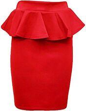 New Womens Flared Waist Peplum Frill Midi Bodycon Pencil Skirts 8-14