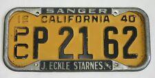 J. Eckle Starnes Pontiac Buick Dealer Sanger, California License Plate Frame