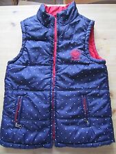 Ladies Animal Red and Navy and White Polka Dot Reversible Gilet Size 10