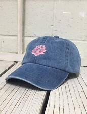 Hip Lotus Flower Embroidered Low Profile Baseball Cap Hat Light Denim