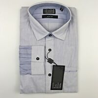 "PAL ZILERI LAB Slim Fit Blue Stripe Slim Fit Mens Dress Shirt Size 17.75"""