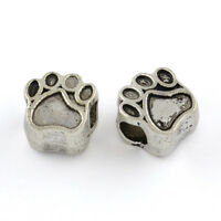 20pcs Dog Paw Print European Beads Tibetan Silver Charm Pendant DIY Craft
