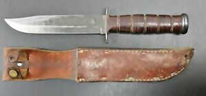 WW2 Fighting Knife KA-BAR USN MK2 Fixed Blade Leather Handle Knife & Sheath