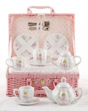Delton Children's Porcelain Tea Set for 2 in Wicker Basket PINK BELLA