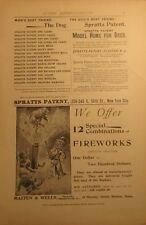 circa 1895 Uncle Sam Blowing Up Lion Masten & Wells Boston Fireworks Ad