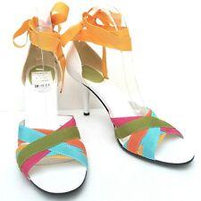 Enzo Angiolini Women 8.5 M Rainbow - White Open Toe Pump Heels - Ankle Ties