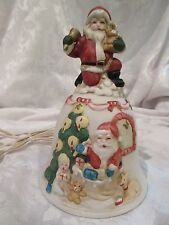 Vintage Ceramic Light Up SANTA BELL Night Light Christmas Lamp ~ WORKS