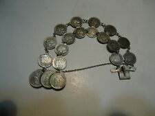 Netherlands 5 cent  silver coin  bracelet  18 coins 1850-1970's jewelry