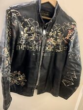GREAT CHINA WALL Vintage Leather Brooks Motorcycle Jacket - Hand Painted Skulls