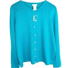 NWOT LIZ BAKER Cardigan Sweater Womens Sz XL Blue Button Down