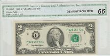 World Paper Money Us 1995 $2.00 Dollar Bank Note C.G.A. 66