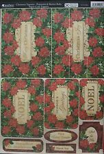 Kanban Paper Craft Toppers Christmas Tapestry Poinsettia and Berries for cards