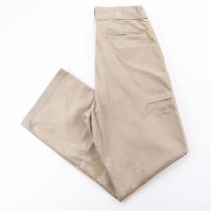 DICKIES Double Knee Beige Cotton Loose Straight Trousers Mens W34 L34