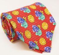 Gianni Versace Krawatte rot Floral und Medusa 100% Seide -K074