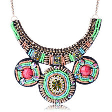 Vintage Boho Bib Statement Necklaces Multicolor Beads Pendant Necklace for Women