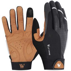 Riding Full Finger Gloves Shock Resistant Anti Slip Cycling Fishing Black Brown