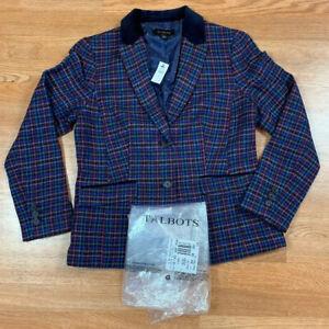 NWT'S Talbots Blazer Women's SZ 8 Plaid Wool Blend MSRP $189 Multicolor Cute