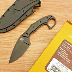 "Ka-Bar TDI Pocket Strike Fixed Knife 3.25"" AUS-8A Steel Blade Black Zytel Handle"