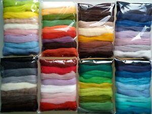 Assorted Colours* 100% Merino Wool Tops for Wet & Dry Felting, Packs of 90 grams