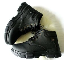Womens Black Ankle Boots Ladies Platform Trainers Lace Up Sneakers Shoes Size