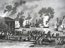 GRAVURE ANCIENNE 19e - 1793 INCENDIE DE LA MARINE DE TOULON PAR LES ANGLAIS