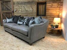 Alexander James Hermes maxi 4 str sofa Chesterfield grey leather velvet scatters