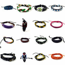 Mens Ladies Leather Bracelets Wrap Jewellery Wristband friendship Bangle Charm