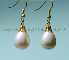 Fashion 12x16mm White South Sea Shell Pearl Yellow Gold Plated Hook Earrings