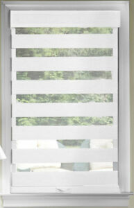 White Cordless Window Roller Shades Celestial Sheer Double-Layered Roman Shade