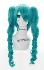 Y-302 Miku Cosplay TURQUOISE BLEU CLIPS 3 pièces 60 cm Lolita boucles perruque wig