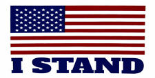 "USA American Flag ""I Stand"" White Vinyl Decal Bumper Sticker"