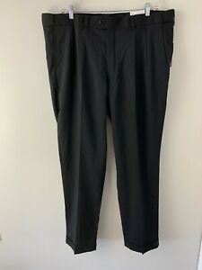 GS Gold Series NWT $78 Traditional Fit Dress Pants Black Pleated Cuffed 46 X 34