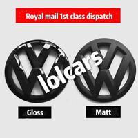 VW Golf MK7 2013 On Gloss Black Front Grille & Rear Boot Badge Emblems OEM-Fit
