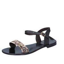 Damen schuhe CALPIERRE 40 sandalen schwarz beige leder BZ843-C