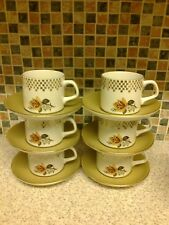 J G MEAKIN ENGLAND STUDIO 6 X CUPS & SAUCERS HEAVILY GUILDED WITH YELLOW ROSES
