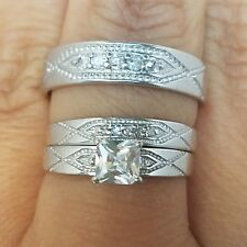 .65 Ct 3 trio 10K White Gold square Engagement Wedding band Ring Set S 7.5 9.5