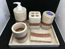 5-PIece Marble Bathroom Accessories Set of  Collection
