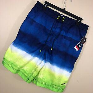 New Speedo L Large Mens Swimsuit Board Shorts Blue Green Pockets Drawstring V4